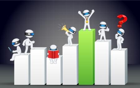 Darstellung von 3D-Business-Mann im Stehen voll skalierbar auf Balkendiagramm