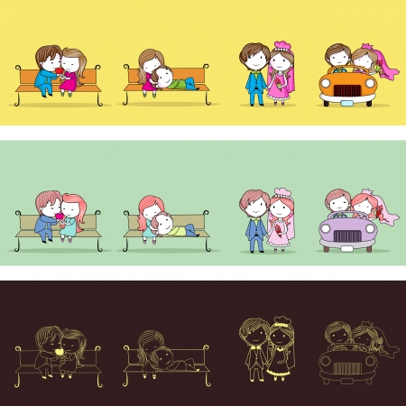 matrimony: illustration of set of newly wed couple in different style