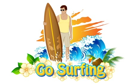 illustration of man standing with surf board for go surfing campaign Vector