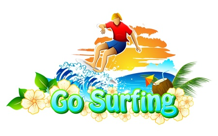 illustration of surfer surfing in sea for go suring campaign Vector