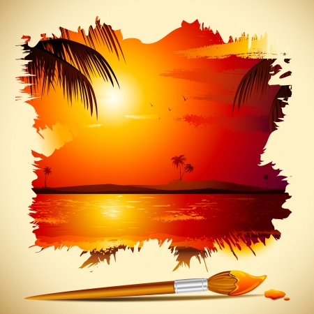 sunset lake: illustration of painting of sunset view in sea with brush Illustration