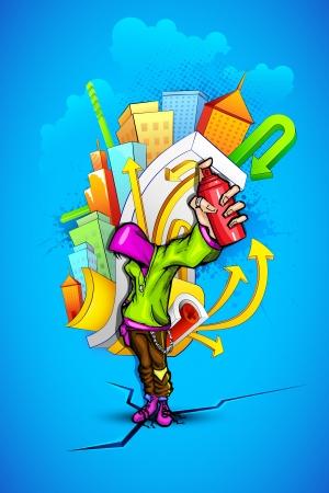 hip hop dance pose: ilustraci�n de chico cool que muestra una botella de spray de pintura con el tel�n de fondo graffiti urbano