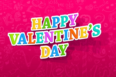 illustration of happy valentines day text on abstract background Vector