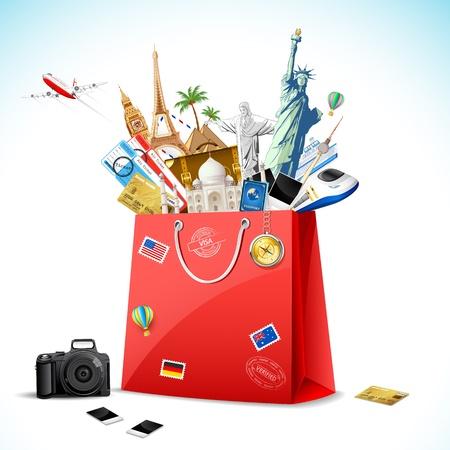 voyage: ilustraci�n de la bolsa de la compra lleno de famoso monumento con el billete de avi�n y avi�n que vuela Vectores