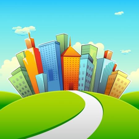 illustratie van de weg te gaan richting stad met hoge gebouwen Vector Illustratie