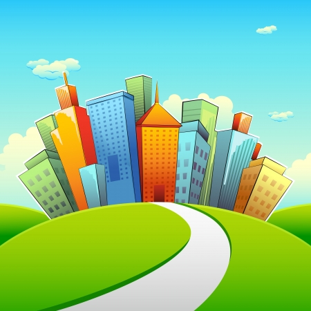 urban road: illustration of road going towards city with tall buildings