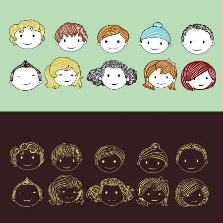 illustration of head of different race children Vector