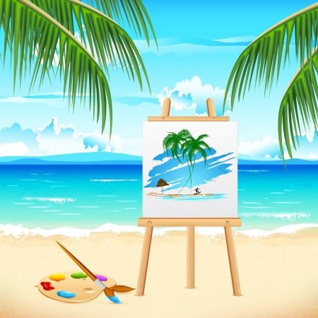 illustration of painting of sea beach on easel Vector