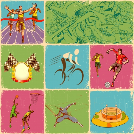illustration of collage of different sports in retro style Stock Vector - 13956597