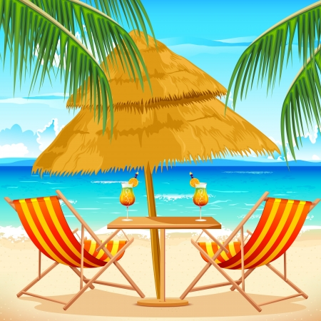 Caribbean sea: illustration of chair on beach background with palm tree