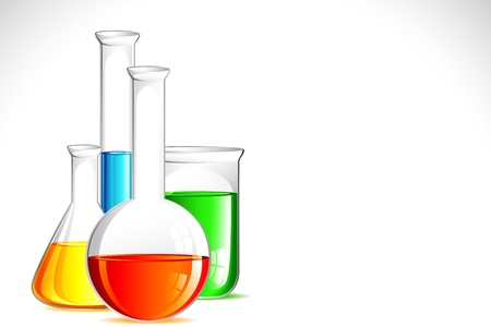 specimen: illustration of laboratory apparatus with colorful solution