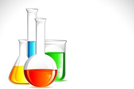 quimica organica: ilustraci�n de un aparato de laboratorio con una soluci�n de colorido