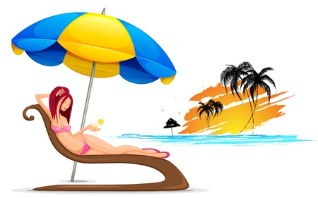 young girl bath: illustration of lady relaxing in beach wear with cocktail glass