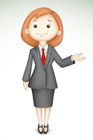 illustration of 3d business lady in vector giving presentation Stock Illustration - 14026884