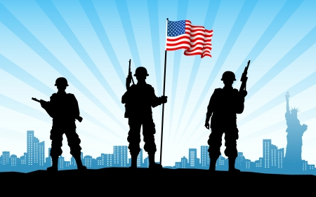 illustration of American soldier standing with flag on city backdrop illustration
