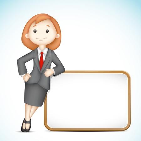 mujer con corbata: ilustraci�n de la mujer de negocios en el vector 3d celebraci�n de tablero en blanco Foto de archivo