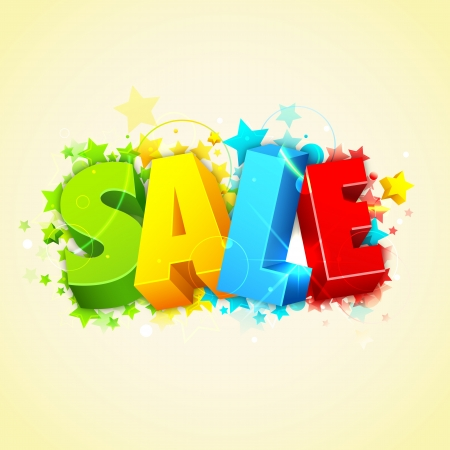 illustration of sale text on abstract star background illustration