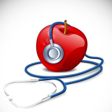 illustration of stethoscope around apple on abstract background Stock Illustration - 14026862