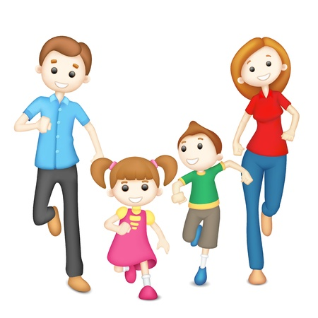 illustration of 3d family in vector in playful mood illustration