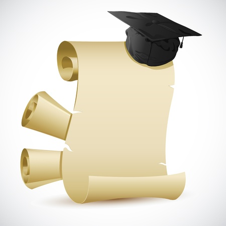 mortar board: illustration of mortar board on blank scroll paper Stock Photo