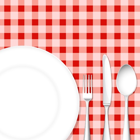 dinning table: illustration of template for menu card with cutlery