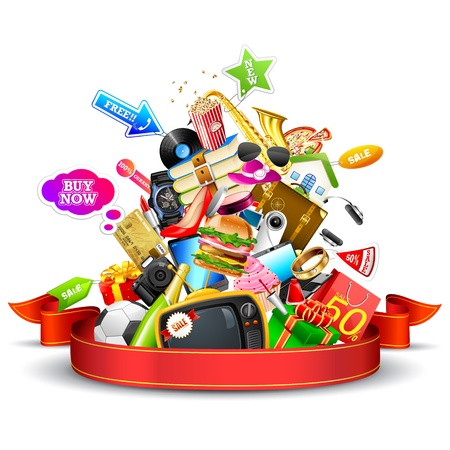 consumerism: illustration of heap of product with ribbon showing sale festival