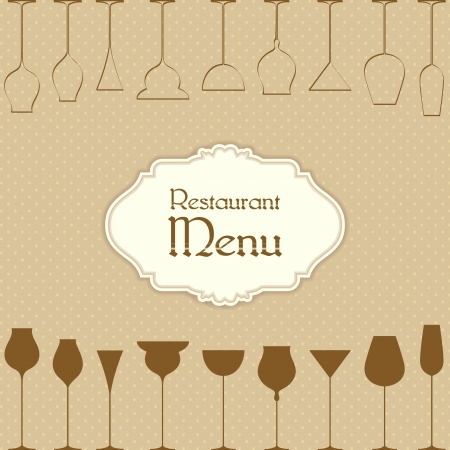 illustration of drink and beverage glass on restaurant menu design illustration