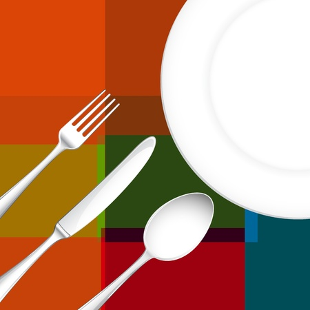 illustration of template for menu card with cutlery illustration
