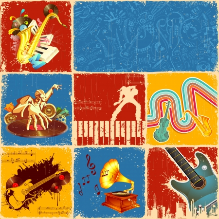 performance art: illustration of collage of different music concept Stock Photo