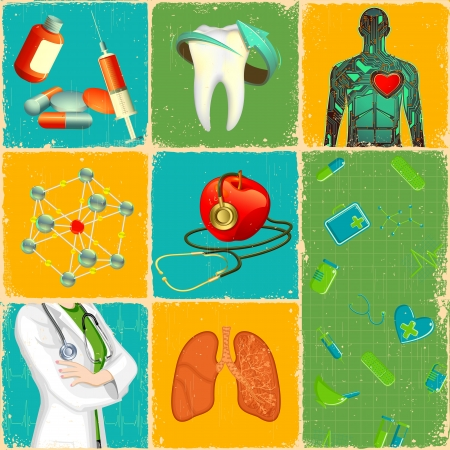 illustration of medical concept collage with different object illustration