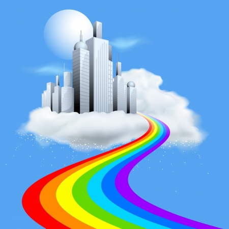 illustration of skyscraper building on cloud with rainbow path illustration