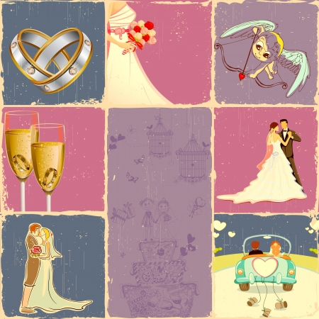illustration of collage of different concept of wedding illustration