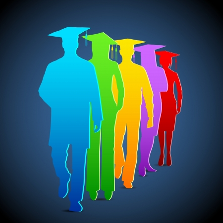 mortar board: illustration of colorful graduates with mortar board