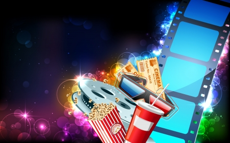 illustration of film reel with pop corn,reel and 3d glasses
