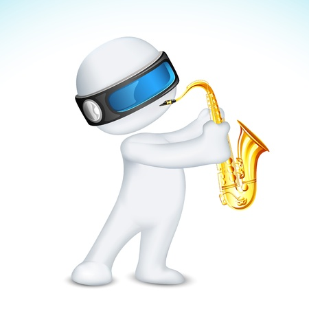 scalable: illustration of 3d man in vector fully scalable blowing saxophone