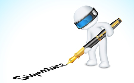 business pen: illustration of 3d man in vector fully scalable making signature with pen Illustration