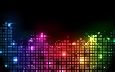 illustration de bar musical coloré qui montre le volume sur fond noir