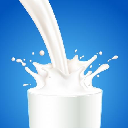 ilustraci�n de verter un vaso de leche de la creaci�n de salpicaduras