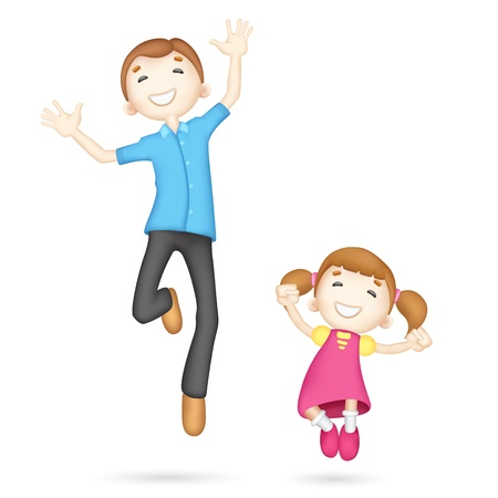 healthy family: illustration of jumping 3d father and daughter in vector fully scalable