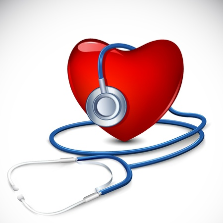 stethescope: illustration of stethoscope around heart on abstract background