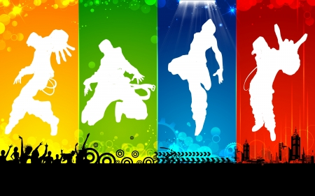 hip hop: illustration of male dancing on abstract background Illustration