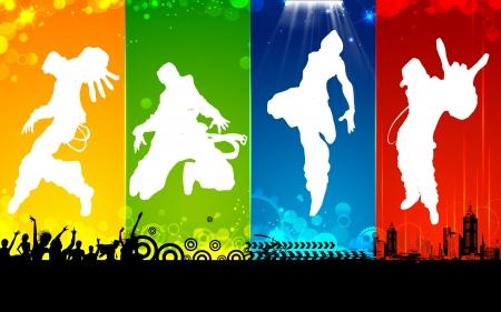baile hip hop: ilustraci�n de baile masculino en el fondo abstracto