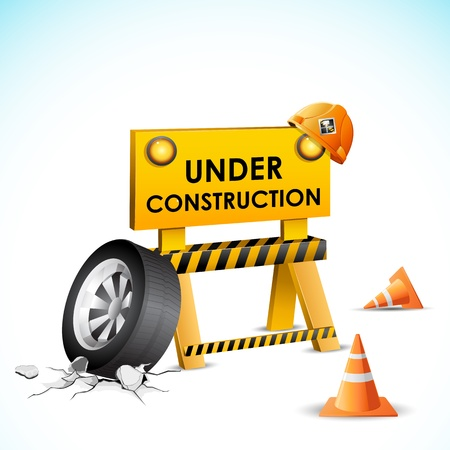 onderhoud auto: illustratie van de in aanbouw achtergrond met stop en band