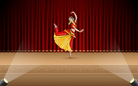 illustration of Indian classical dancer performing bharatnatyam on stage Vector