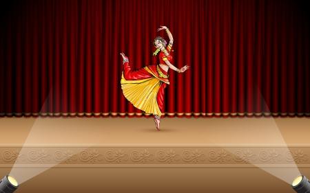 teatro antiguo: ilustración de la bailarina clásica de la India rendimiento bharatnatyam en el escenario