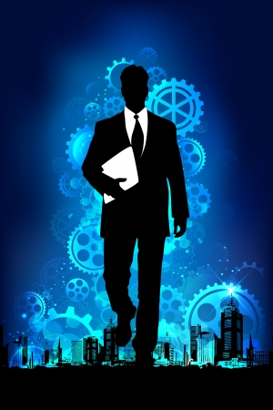 guy standing: illustration of business man standing on mechanical background with gears Illustration
