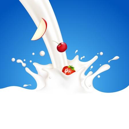 milkshake: illustration of fruit in splashing milk on abstract background