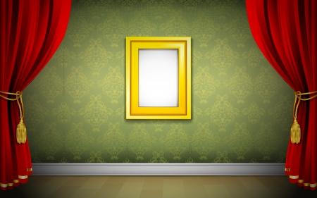 feestelijke opening: illustratie van foto frame op behang met gordijn interieur