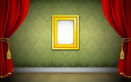 inauguration: illustration of photo frame on wallpaper with curtain interior