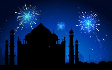 illustration of Taj Mahal on firework in sky backdrop Vector